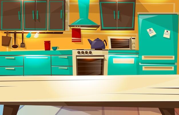 ダイニングテーブルからのキッチンインテリアの背景。