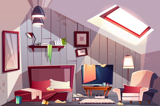 Грязная мансардная спальня или гостевая комната на чердаке с разбросанной одеждой и испачканными стенами