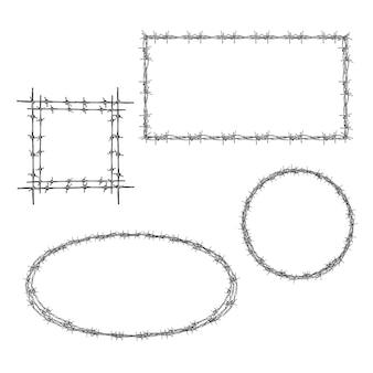 Обтянутая прямоугольной, квадратной и круглой рамками из колючей проволоки