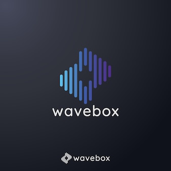 アプリラジオのオーディオ信号の波のロゴ
