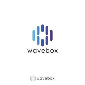 アプリラジオ、テクノロジーのためのオーディオ信号の波のロゴ