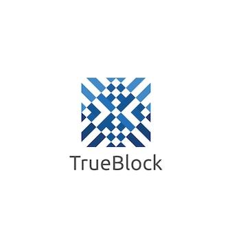 ブロック立方体のカーペットの床またはタイルの壁のロゴ