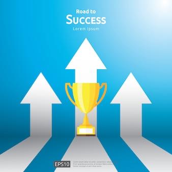 Бизнес-концепция с лестницы и трофей кубка. направление стрелки к победителю успеха