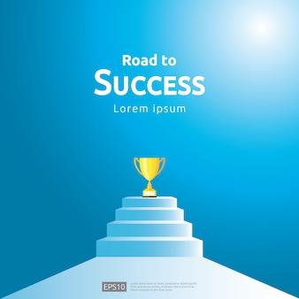 成功の勝者に階段とトロフィーカップのビジネスコンセプト