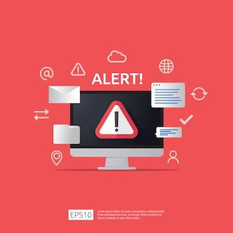 コンピューターのモニター画面に感嘆符付きの注意警告攻撃者警告サイン。インターネット危険シンボルアイコンの警戒に注意してください。