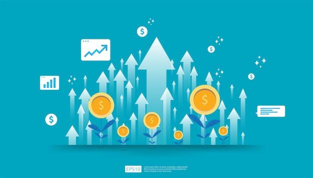 投資収益率、利益機会の概念。成功へのビジネス成長の矢。ドルの植物コイン、グラフとチャートの矢印が増加します。