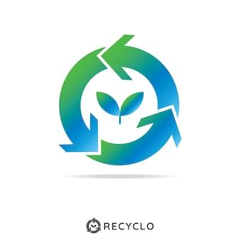 成長葉のロゴの概念を持つ循環リサイクル。ロゴテンプレート