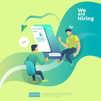 オンラインの募集と人々の性格と雇用の概念。代理店インタビューは、ソーシャルメディアテンプレート、ウェブランディングページ、バナー、プレゼンテーションの履歴書プロセスを選択します