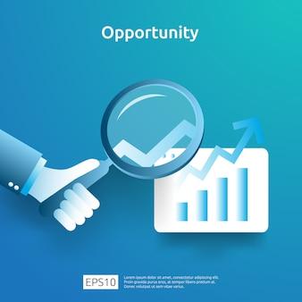 Концепция аналитики бизнес-идеи и исследования возможности с увеличением диаграммы графика и лупы в наличии. показатели рентабельности инвестиций в рентабельность инвестиций с элементом стрелки