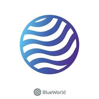 Синий логотип мировой волны