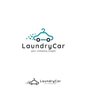 洗車、洗濯、アプリ、ビジネス、サービスのための車とハンガーのロゴのコンセプト。