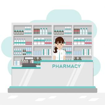 薬剤師とレジカウンターのある薬局インテリア
