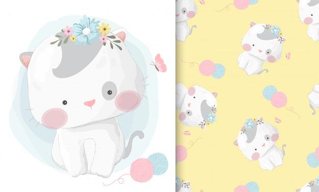 シームレスパターンセットでかわいい手描き猫