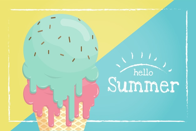Таяние мороженого в банке с вафельным конусом летом.
