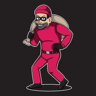 ピンクの強盗マスコット