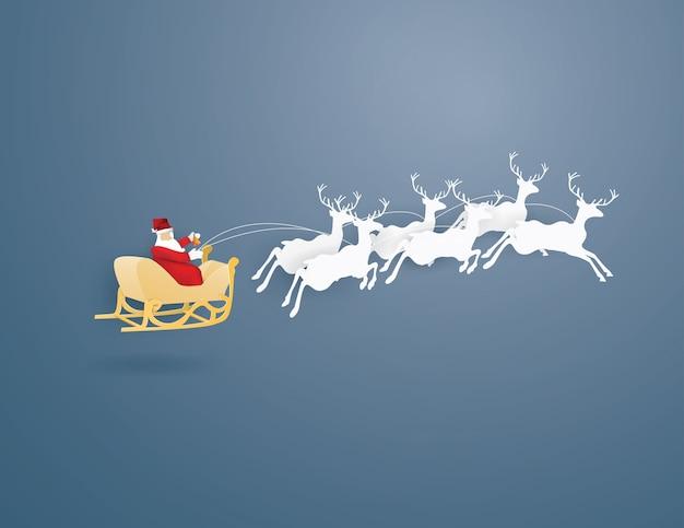 Санта-клаус и олени на синем фоне