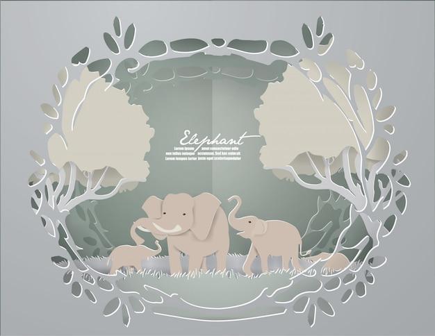 愛のイラスト、象の家族は緑の森の愛を示しています