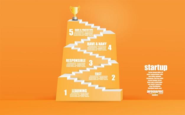 ビジネスインフォグラフィックテンプレート概念階段ステップ。ステップアップ