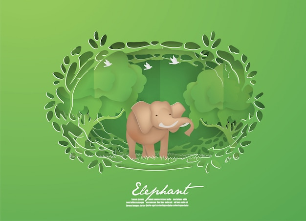 Слон в зеленых животных леса, концепция живой природы.