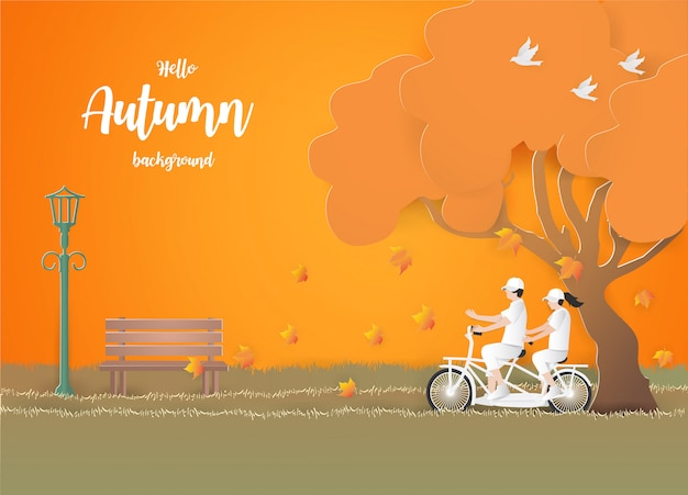 秋のバックグラウンドで草の上の自転車で旅行するカップル。