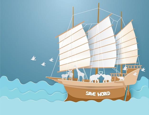 Дикие животные на барке в синем море
