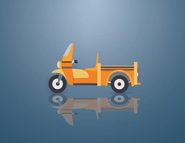 青い背景のスクールバスの三輪車