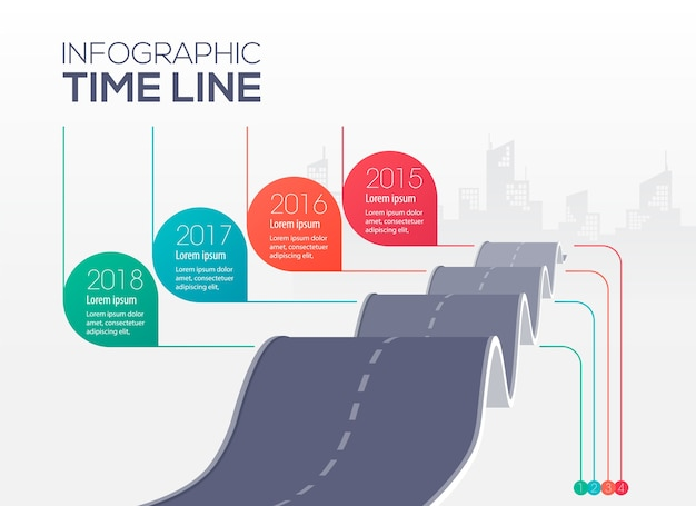 インフォグラフィックタイムライン、凹凸道路コンセプトイラスト