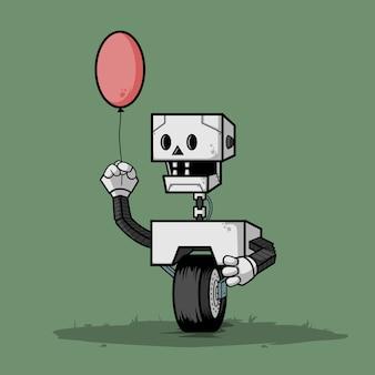 Робот с колесом, держащим воздушный шар