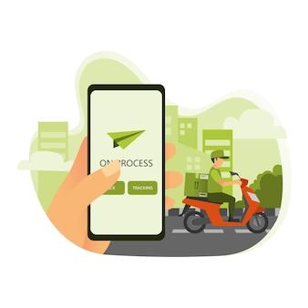 携帯電話で配送状況の通知を受信
