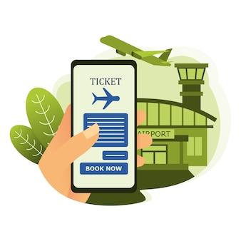 空港と航空機の背景を持つスマートフォンで航空券を予約する