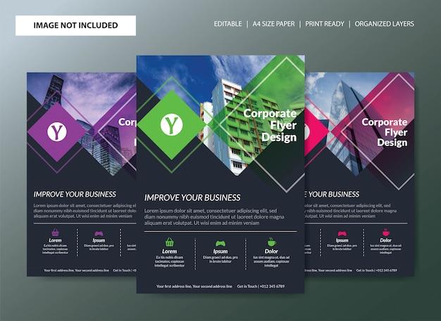 色の選択と企業のチラシテンプレートデザイン