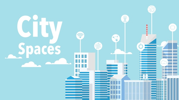 Концепция умного города - умное здание в минималистском стиле с голубыми тонами