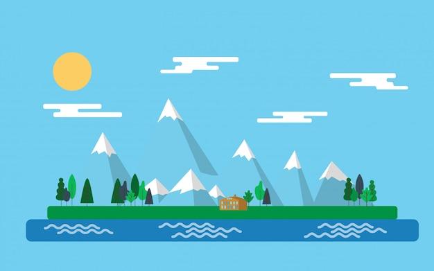 Пейзаж вид на горный хребет в минималистском стиле светло-голубого цвета на зеленой плавающей траве острова на светло-голубом