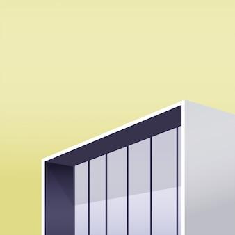 Миниатюрное здание с гигантским окном из стекла на светлом теплом желтом небе.
