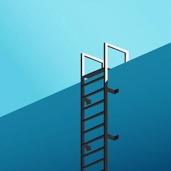 冷たい青いトーンの暗黒の階段と青い空とスイミングプールの底からの最小限の眺め