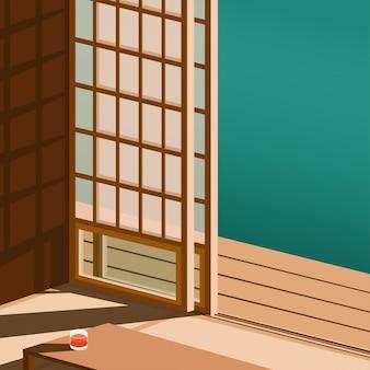 Вид на дверь в японском стиле в сторону японского дома в минималистском стиле с небольшим количеством тени от солнца на полу и небольшого стола со стаканом апельсинового сока в минималистском стиле