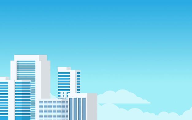 Взгляд ландшафта здания городской башни в голубом минимальном современном тоне
