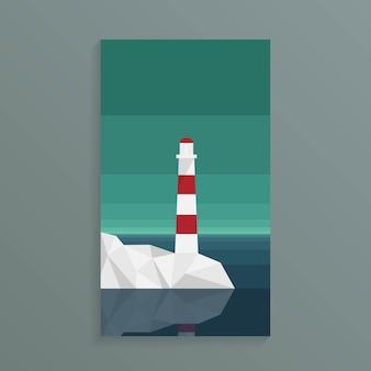 Маяк на берегу моря с горным хребтом