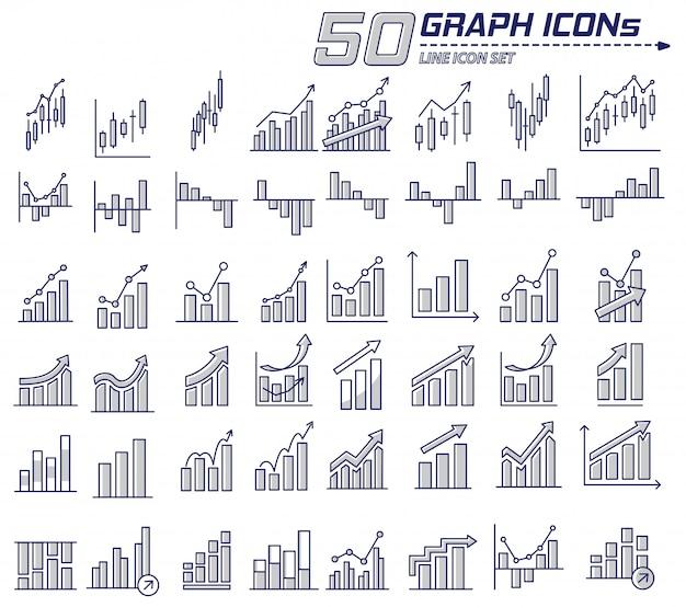 多くの最小限のモダンなスタイルのビジネスフラットライングラフバーグラフアイコンのアイコンパックセット