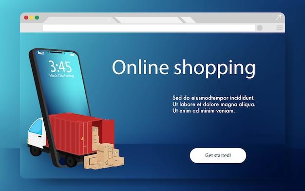 携帯電話から出てくる赤いコンテナと箱が入ったトラック。オンラインショッピング技術スタイルコンセプト。オンラインショッピングサイトのリンク先ページ。最小限のテンプレートデザイン