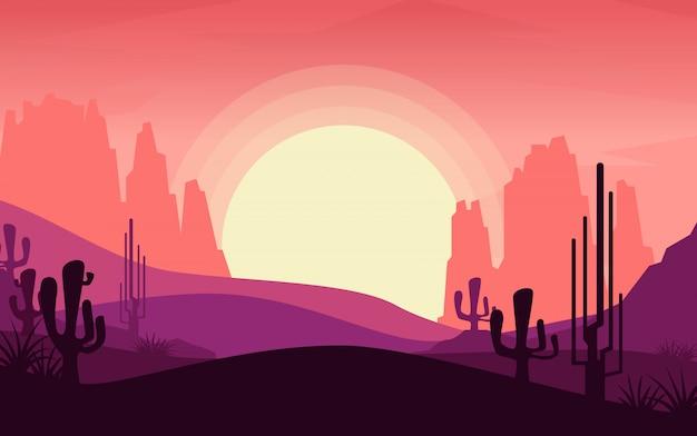 サンセット中の砂漠の眺め