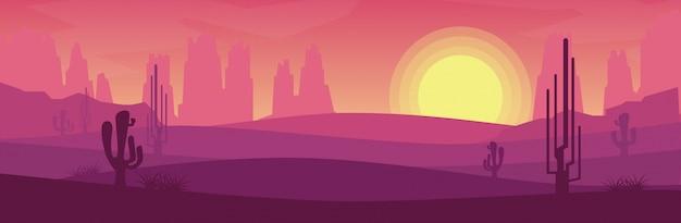 太陽がバナースタイルで設定されている間の砂漠の眺め