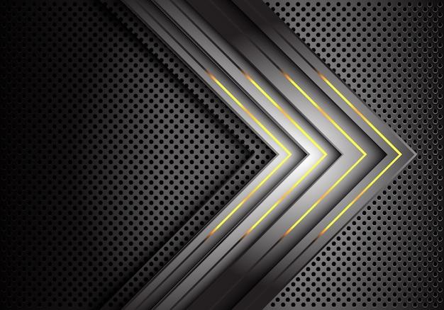 ゴールドライトグレーの矢印方向金属サークルメッシュの背景。