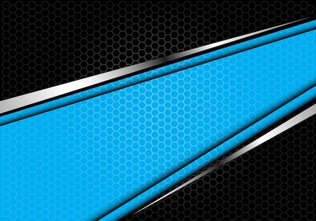 ブルーシルバーラインブラック六角形メッシュの未来的な背景。