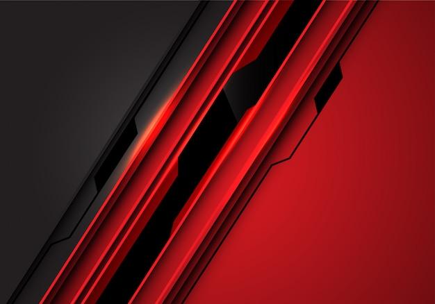 黒い線回路赤灰色の金属未来的な背景。