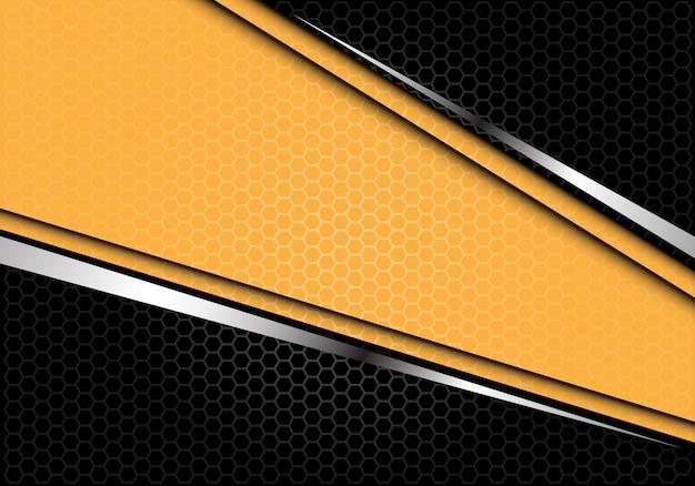 イエローシルバーラインブラック六角形メッシュの未来的な背景。