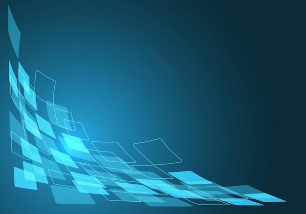 空白の背景を持つ青いデータフロー曲線。