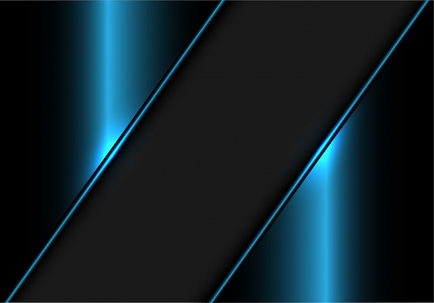 青い金属のモダンで豪華な背景に灰色のバナー。