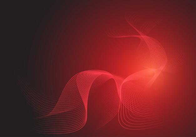 暗い背景に滑らかな赤い線波曲線。