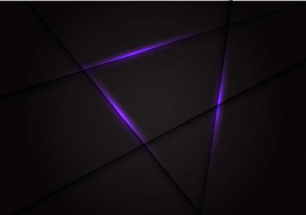 紫色の光線が暗い灰色の背景に交差します。